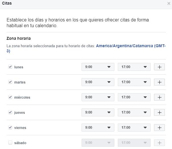 Haz clic en Siguiente. Haz clic en Citas en Facebook para administrar las citas a través de Facebook.